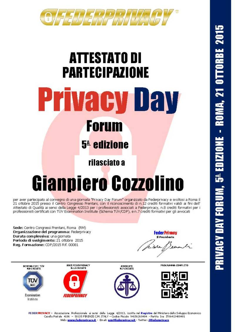 Attestato_Privacy_Day_Forum_2015_Gianpiero Cozzolino